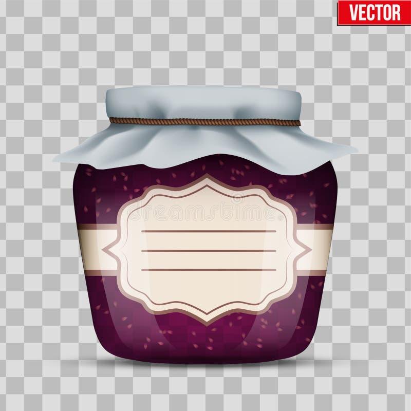 玻璃瓶子用山莓果酱 库存例证