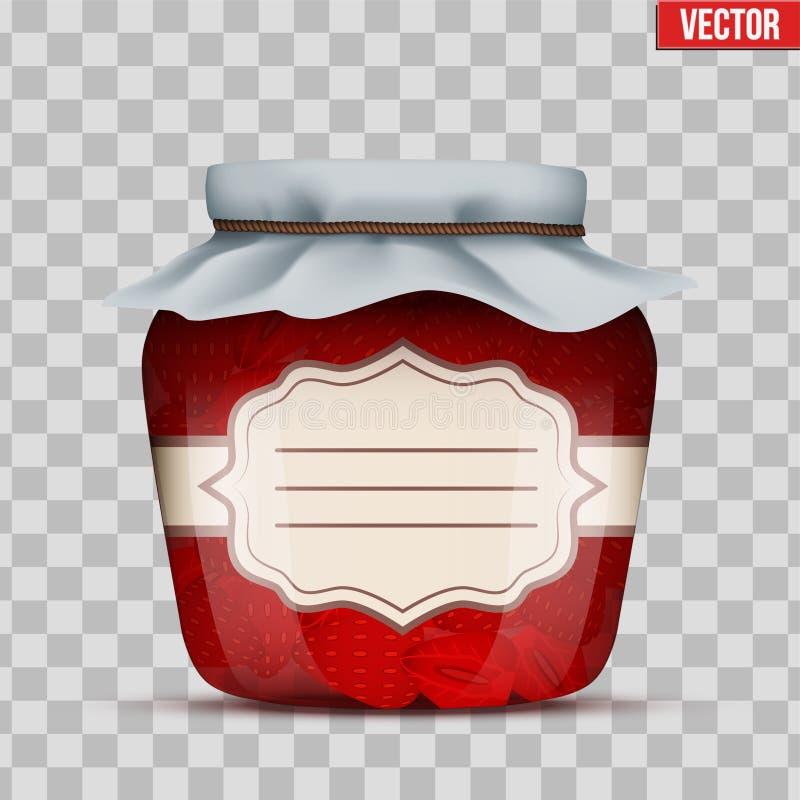 玻璃瓶子用草莓酱 库存例证