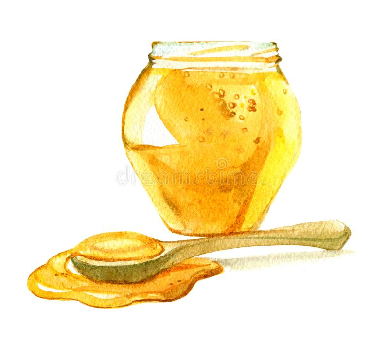 玻璃瓶子蜂蜜,在白色背景隔绝的蜂蜜匙子,水彩 皇族释放例证