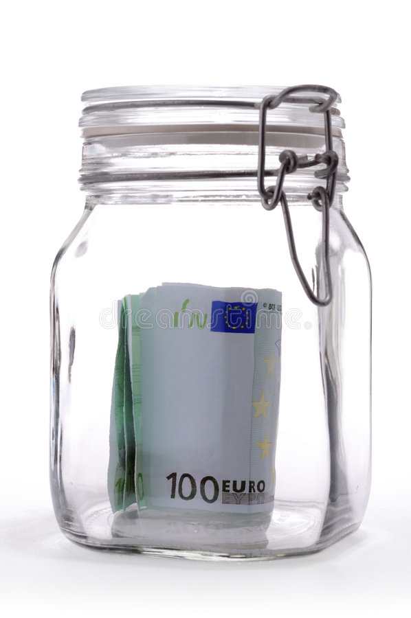 玻璃瓶子货币 免版税库存照片