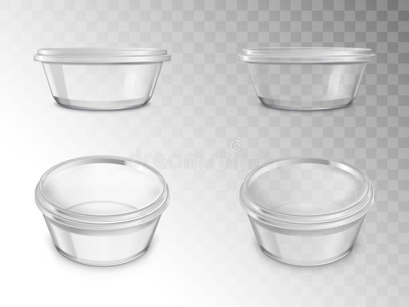 玻璃瓶子集合,装于罐中的空的打开容器 向量例证
