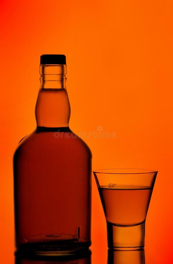 玻璃瓶射击威士忌酒 免版税图库摄影