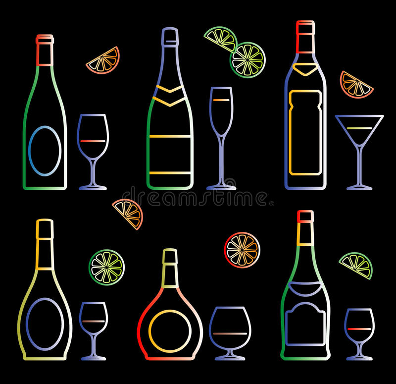 玻璃瓶氖向量 皇族释放例证