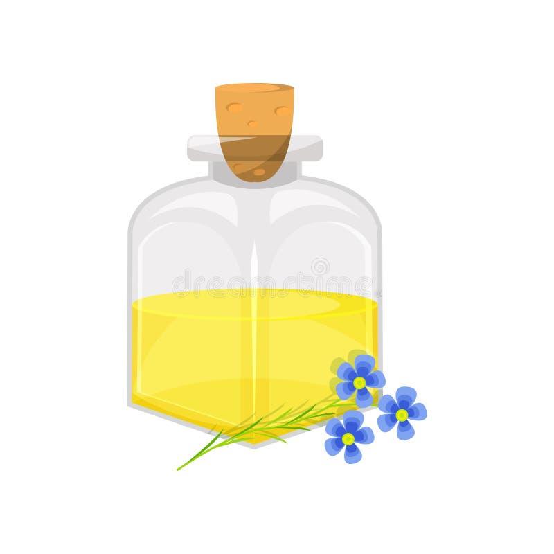 玻璃瓶油麻胡麻油,有机健康石油产品动画片传染媒介例证 皇族释放例证