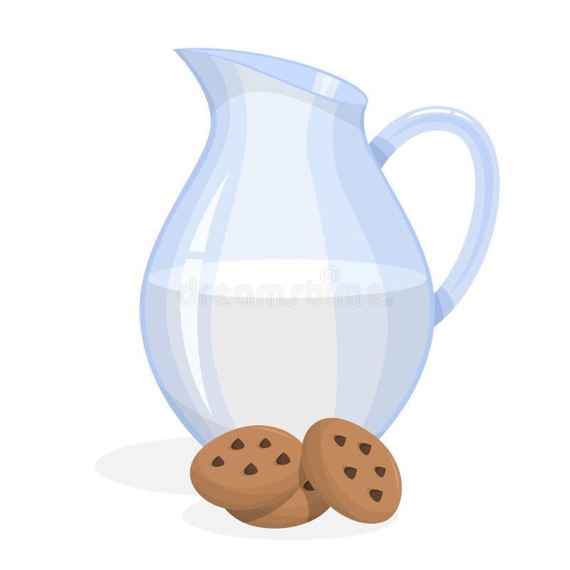 玻璃瓶牛奶和曲奇饼 鲜美食物 向量例证