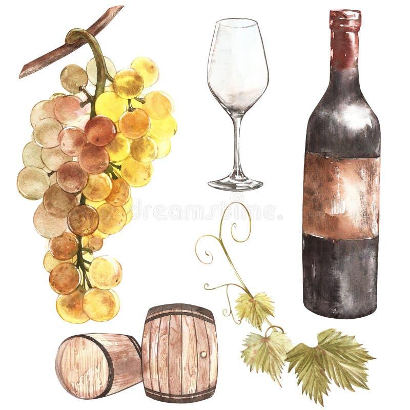 玻璃瓶设置了七六白葡萄酒 在剪影样式的葡萄酒酿造产品 与桶,玻璃,葡萄枝杈的水彩例证 古典 皇族释放例证