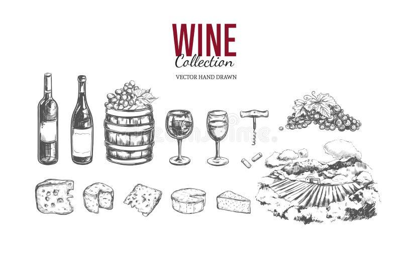 玻璃瓶设置了七六白葡萄酒 手拉的传染媒介 皇族释放例证