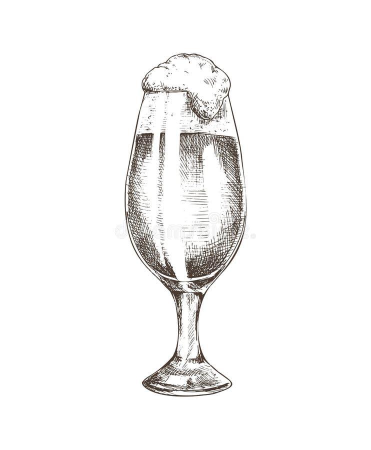 玻璃用啤酒剪影传染媒介例证填装了 向量例证