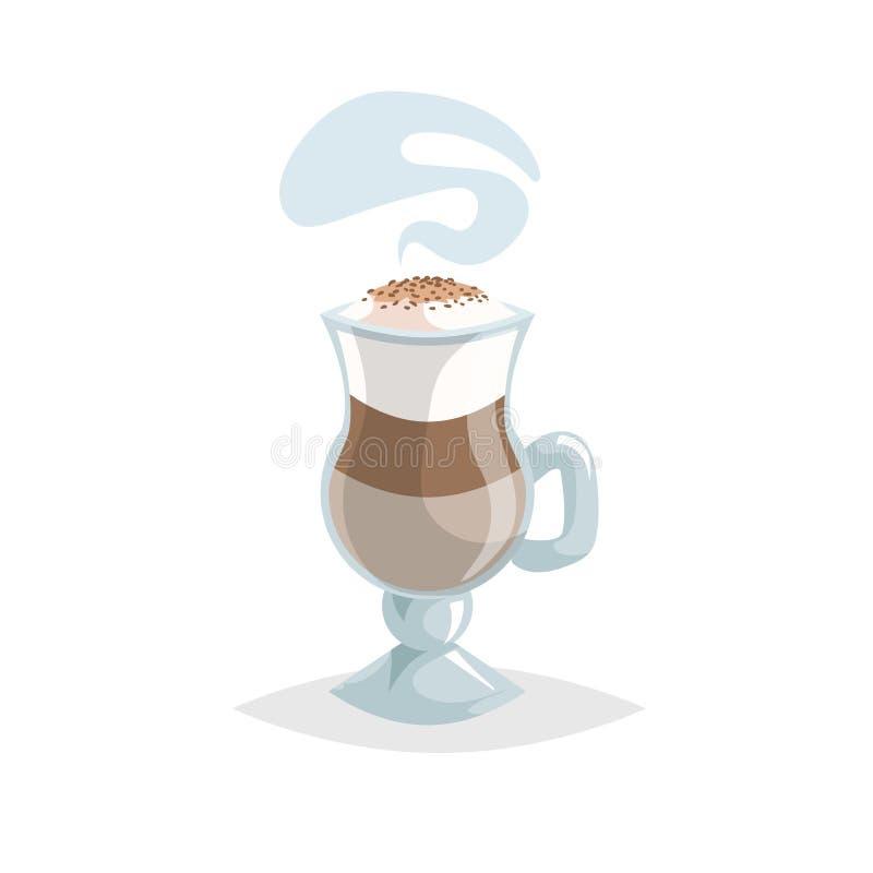 玻璃用拿铁macchiato层状咖啡 动画片时髦样式 有把柄的特别杯子 美丽的蒸汽 皇族释放例证