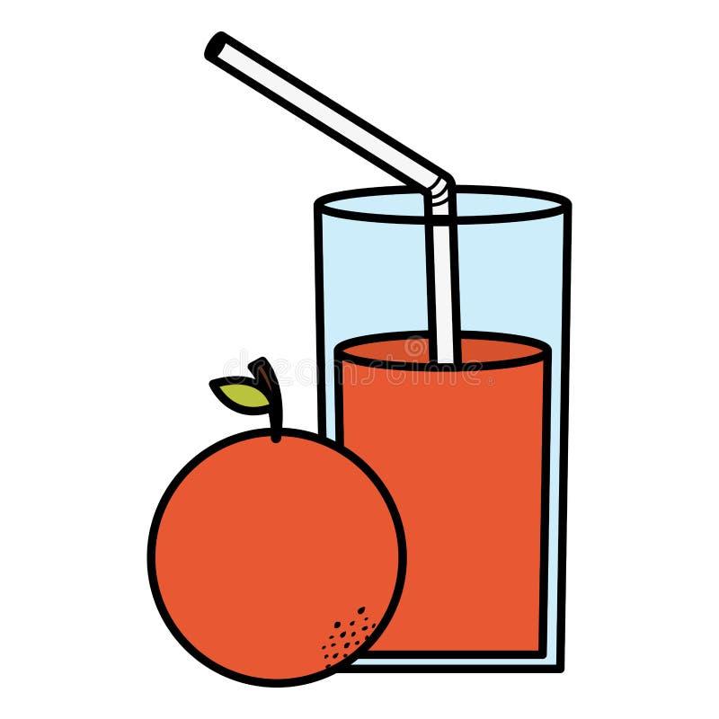 玻璃用桔子汁液  向量例证
