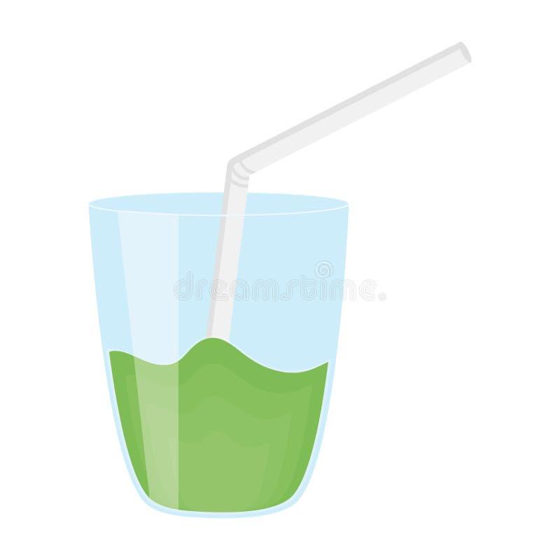 玻璃用汁液果子和秸杆 向量例证