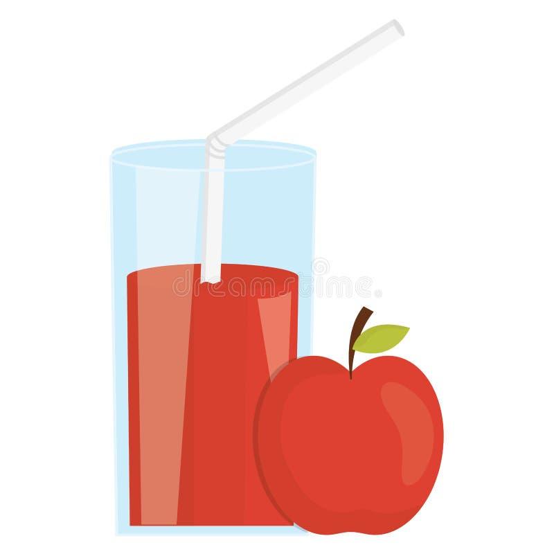 玻璃用苹果汁液  向量例证
