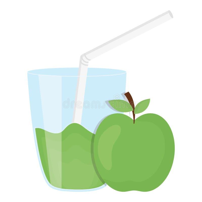 玻璃用苹果汁液  库存例证