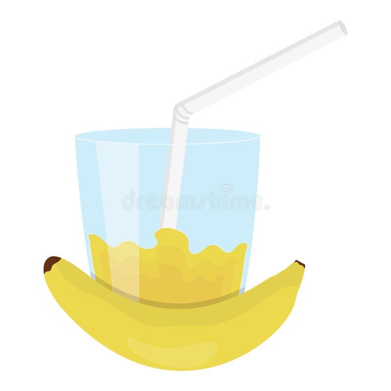 玻璃用香蕉汁液  向量例证