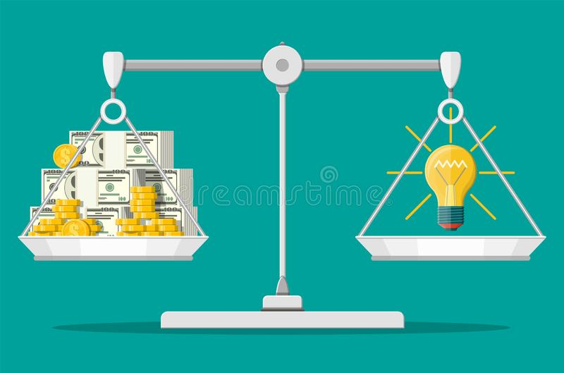玻璃电灯泡和金钱在平衡等级 库存例证