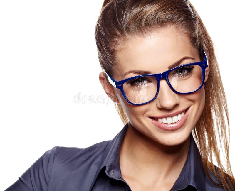 玻璃的女商人 库存图片