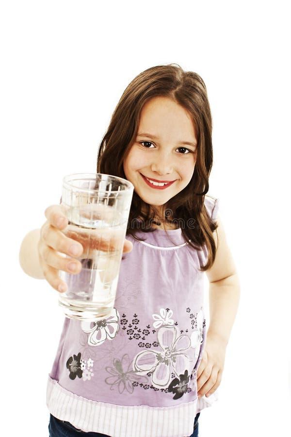 玻璃的女孩少许水 免版税库存图片