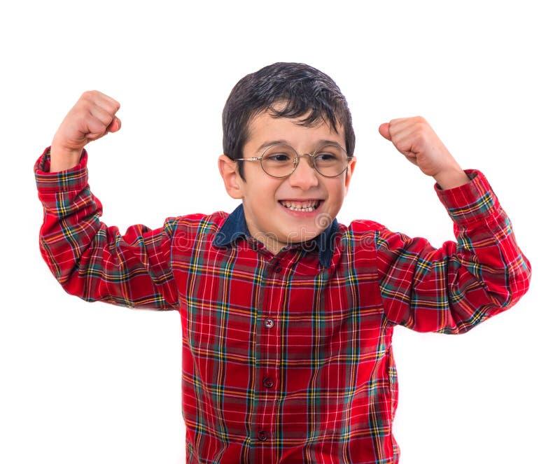 玻璃的小男孩举了他的手  隔绝在白色bac 图库摄影