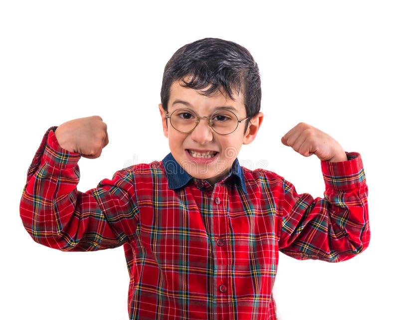 玻璃的小男孩举了他的手  隔绝在白色bac 免版税图库摄影