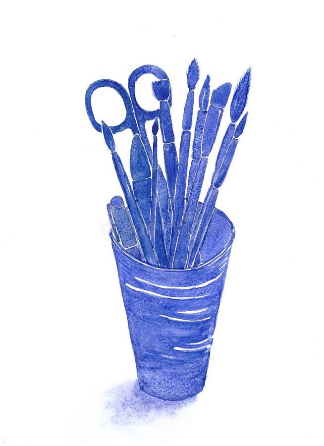 玻璃的水彩手拉的剪影例证与文具物品等高的:笔,剪刀,刷子 深刻的蓝色 库存例证