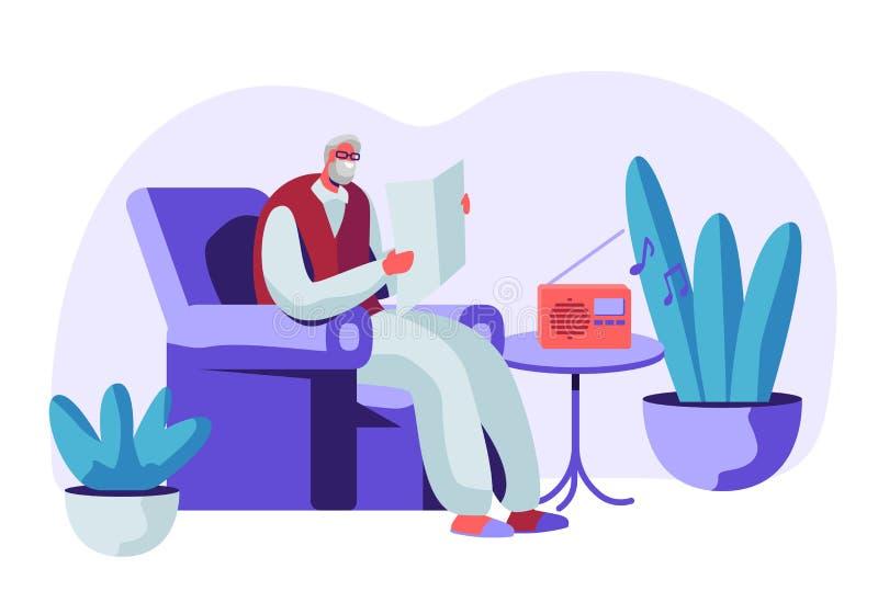 玻璃的资深灰发的人在扶手椅子读书报纸和听的音乐坐收音机 年迈的男性角色 向量例证