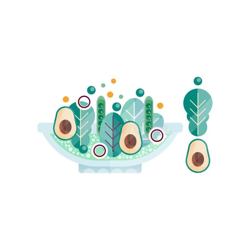 玻璃碗从新鲜的产品的可口沙拉 鲜美和健康食物 素食营养 五颜六色的平的传染媒介 皇族释放例证