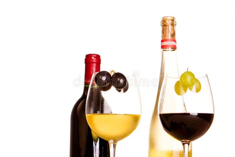 玻璃红色白葡萄酒 库存照片