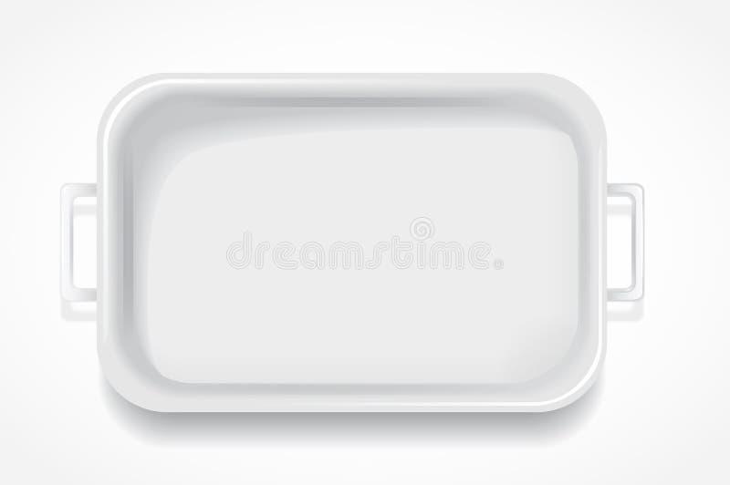 玻璃纤维长方形具有蒸汽保温设备的餐桌白色 库存例证