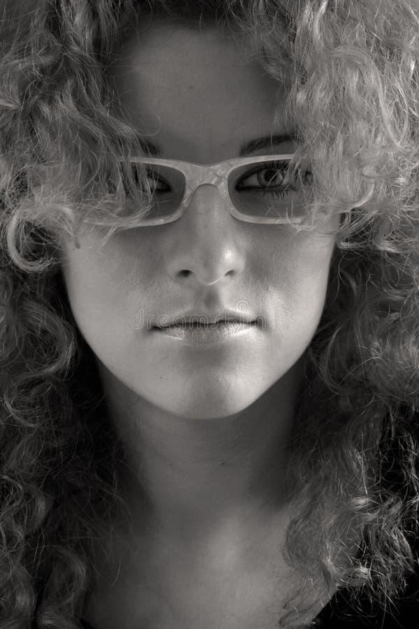 玻璃纵向妇女 免版税库存照片