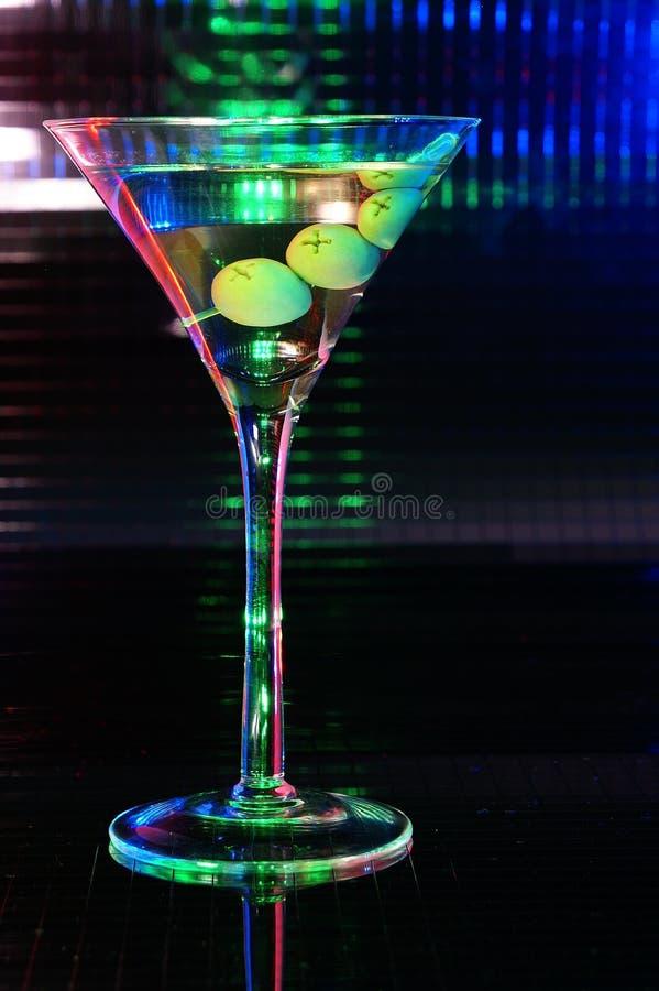 玻璃绿色马蒂尼鸡尾酒 库存图片