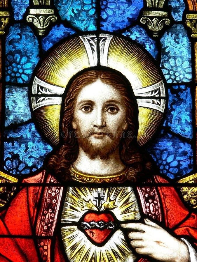 玻璃耶稣被弄脏 免版税库存图片