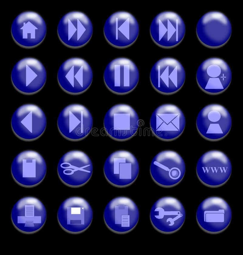 玻璃背景黑色蓝色的按钮 向量例证