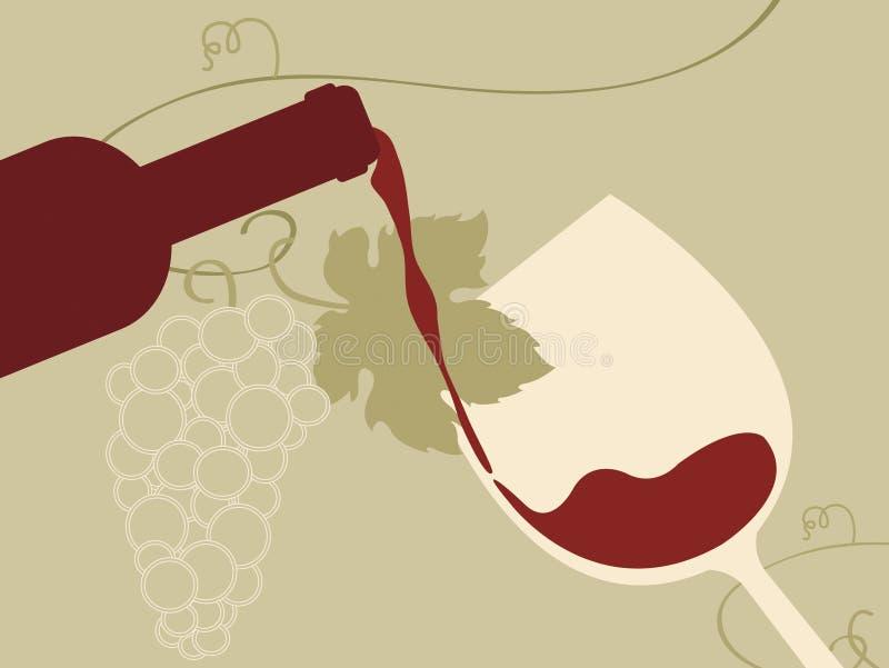 玻璃葡萄红葡萄酒 向量例证