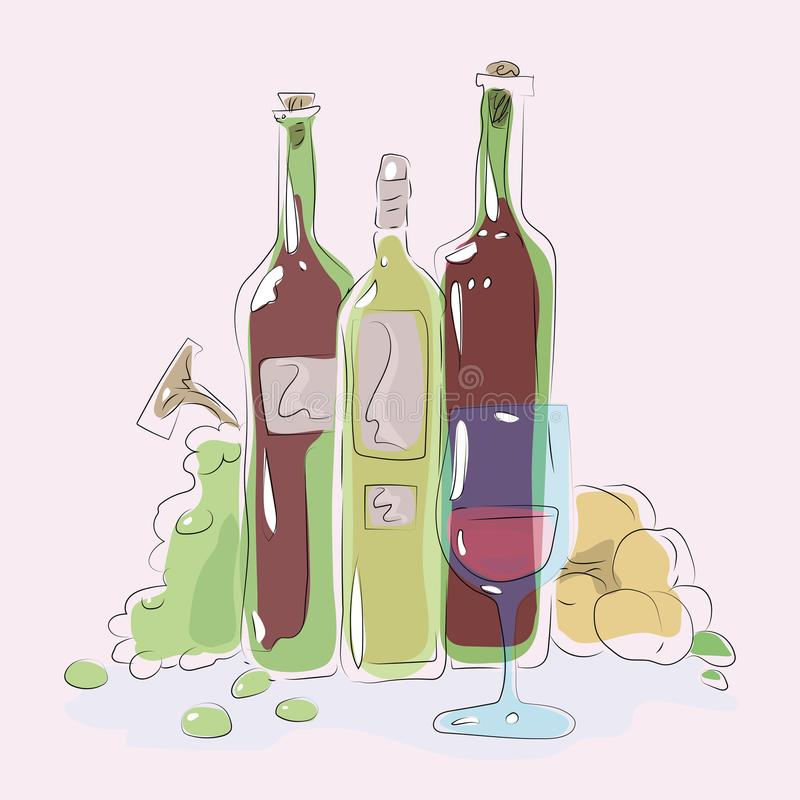 玻璃蓝色玻璃用在绿色瓶背景的桃红葡萄酒酒强光葡萄桃子构成五颜六色的传染媒介illustrat 向量例证