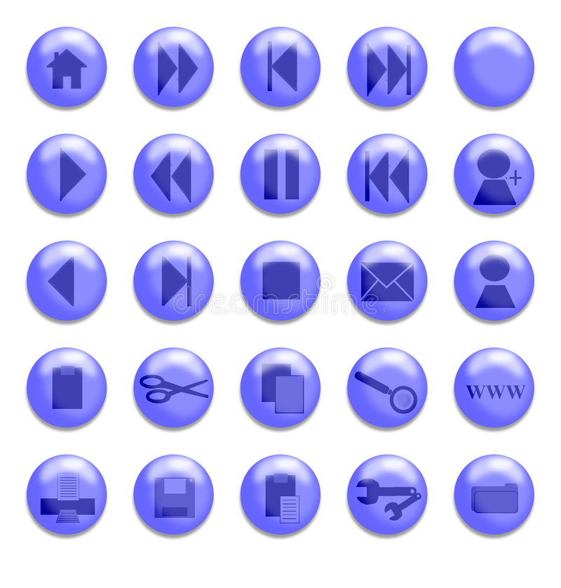 玻璃蓝色的按钮 库存例证