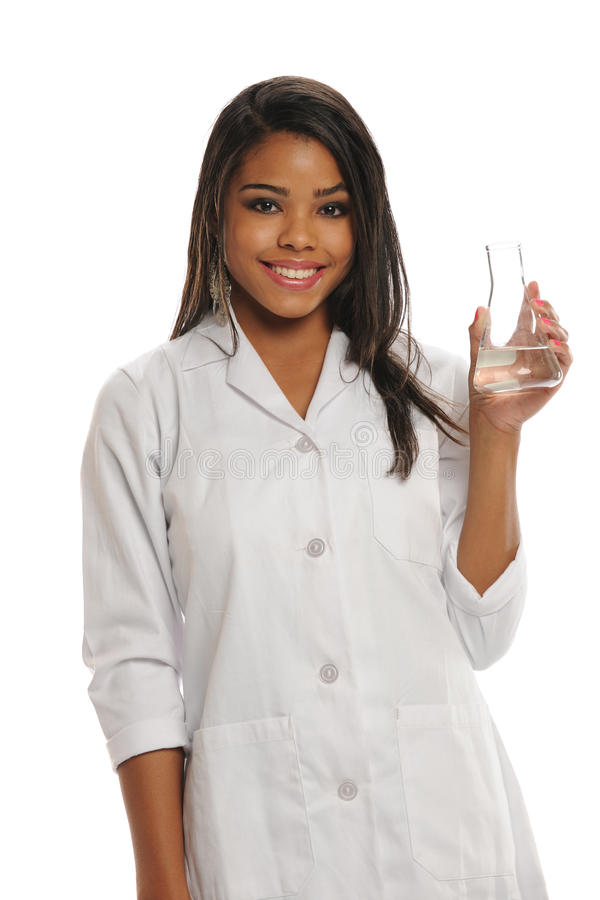 玻璃藏品实验室妇女年轻人 图库摄影