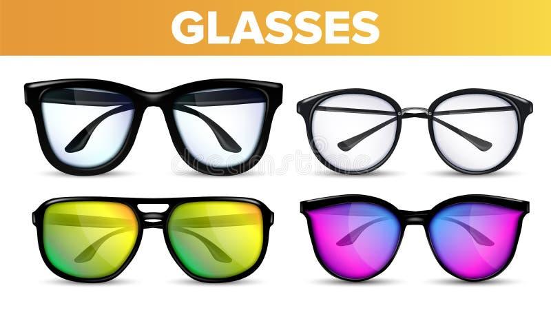 玻璃被设置的传染媒介 现代和葡萄酒Eyewear玻璃 视觉光学象 经典之作和行家透明时尚 库存例证