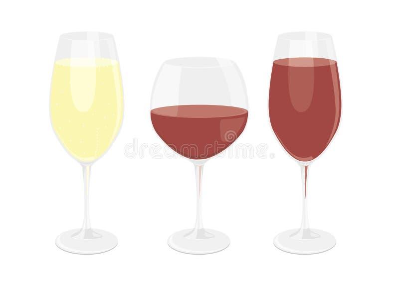 玻璃被设置的酒 免版税库存照片