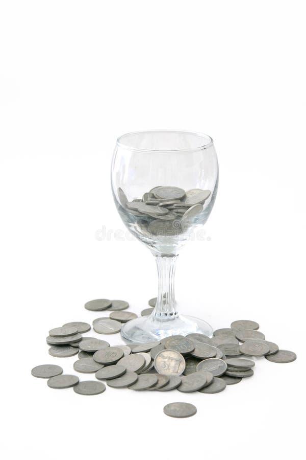 玻璃货币酒 库存照片