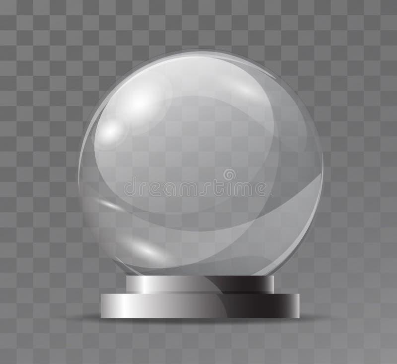 玻璃透明水晶地球 不可思议的属性 倒空玻璃范围 纪念品的立场,战利品 现实传染媒介对象isolat 向量例证