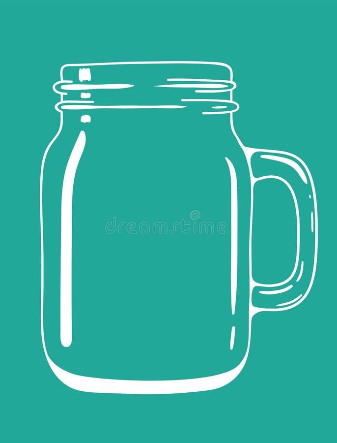 玻璃透明的带手柄的涂鸦罐 矢量手绘插图 向量例证