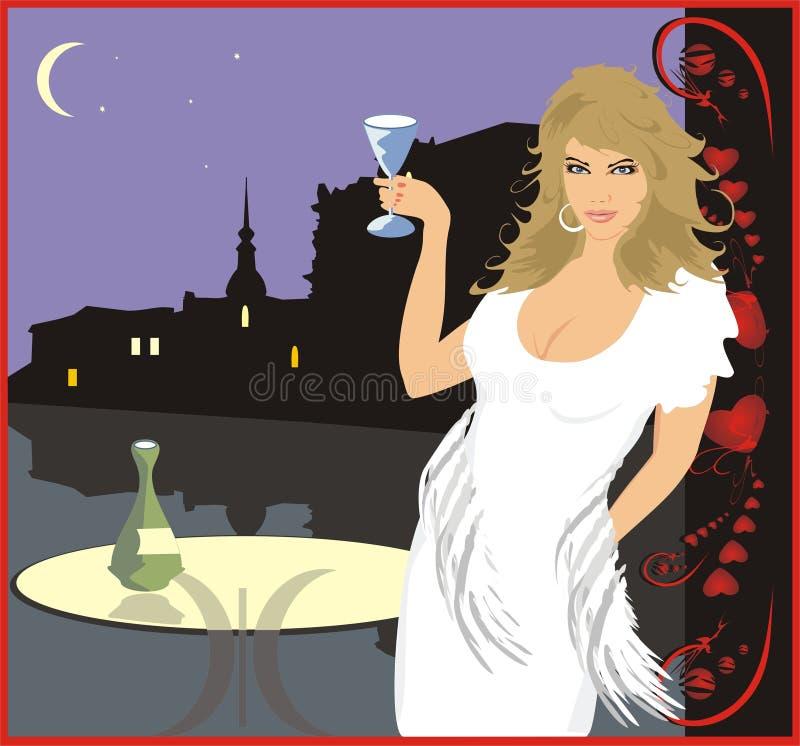 玻璃酒妇女 向量例证