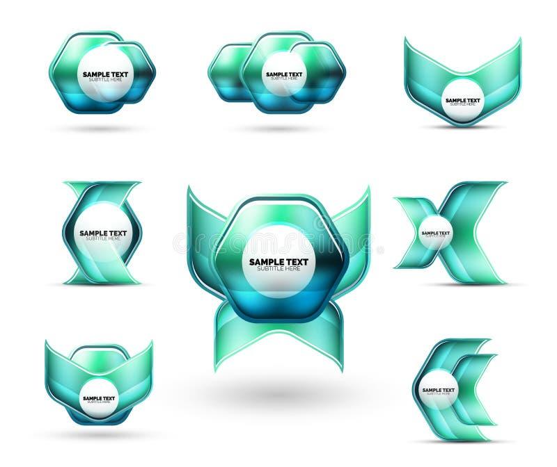玻璃金属光滑的发光的抽象techno为您的消息或企业介绍元素塑造 库存例证