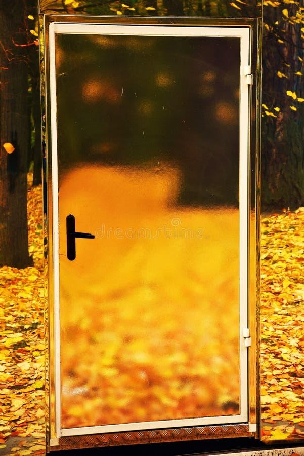 玻璃门和黄色叶子在地面上 一个门到秋天里 免版税库存照片