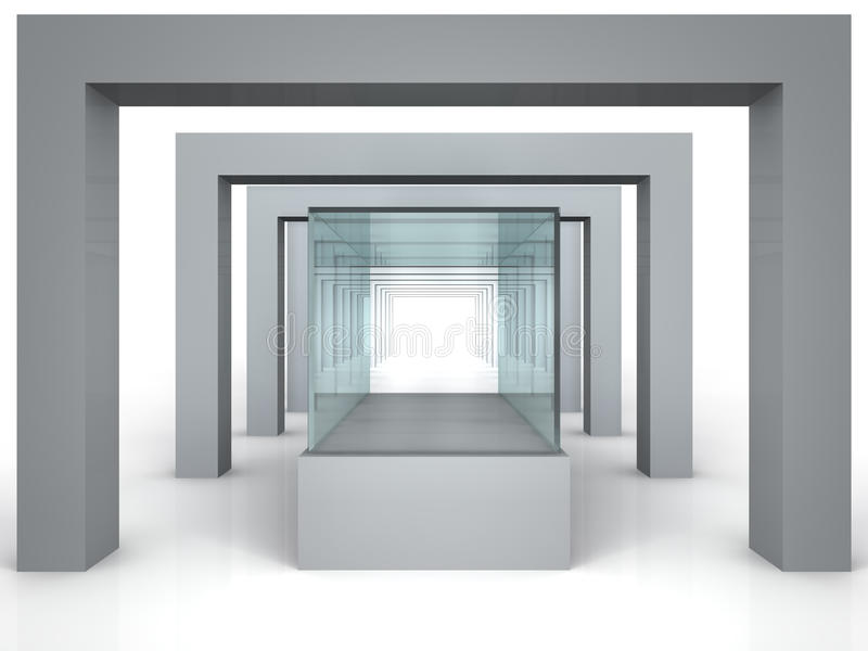 玻璃陈列室在有列的灰色屋子里 库存例证