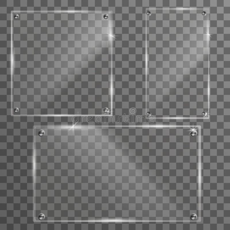 玻璃集合板材框架 隔绝在透明背景 向量例证