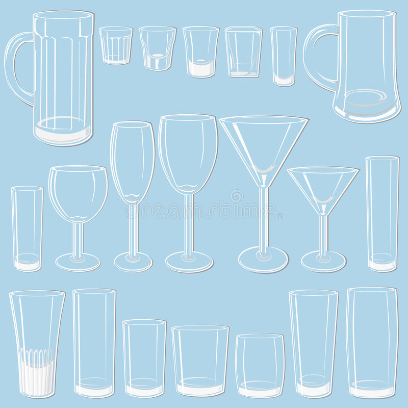 玻璃集合透明 库存例证