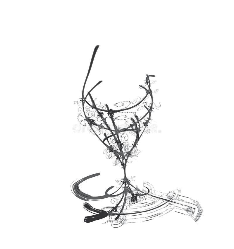 玻璃风格化酒 库存例证