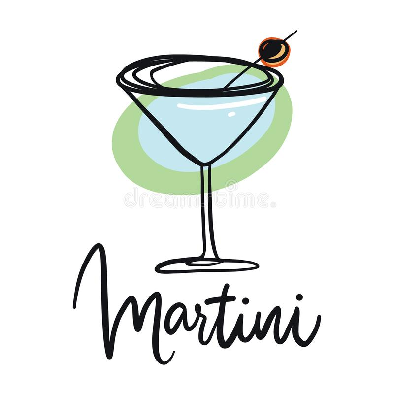 玻璃马蒂尼鸡尾酒橄榄 手拉的向量例证 皇族释放例证