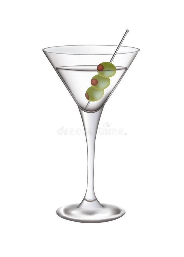 玻璃马蒂尼鸡尾酒橄榄 向量例证